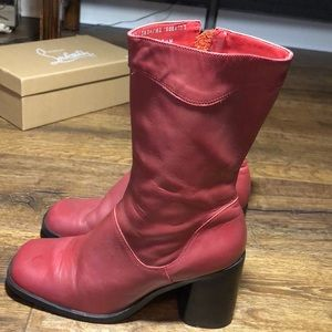 Red PETA approved vegan leather Boots